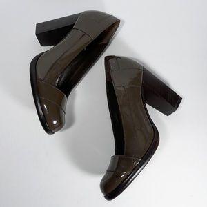 Cole Haan Nike Air Brown Patent Block High Heels